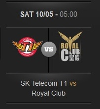 Logos of the two teams in the League of Legends World finals 2013: SK Telecom T1 and Royal Club