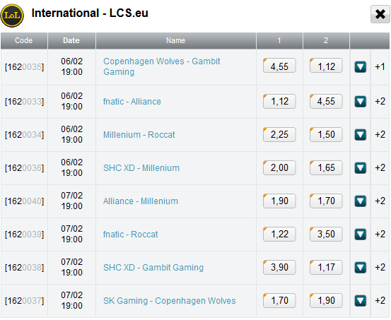schedule LCS EU week 4 with betting odds