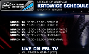 IEM Katowice World Championship League of Legends Schedule