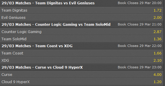 schedule LCS NA week 10 with betting odds - bet365