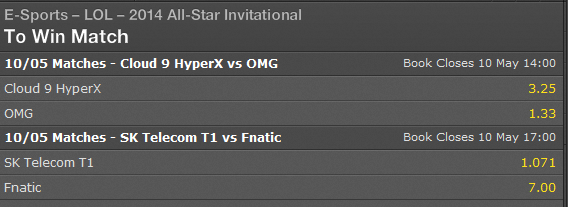 LoL All-Stars Day 3 semifinals schedule and betting odds - bet365