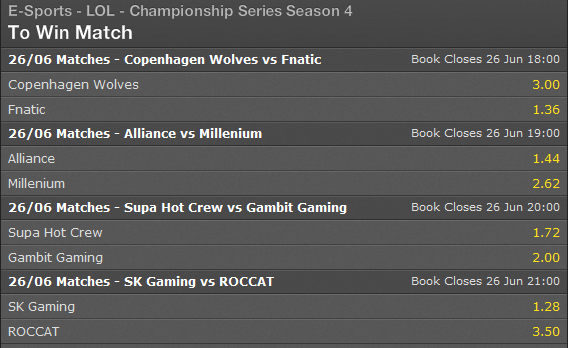 LCS EU Summer Split 2014 Week 6 Day 1 schedule and betting odds - Bet365