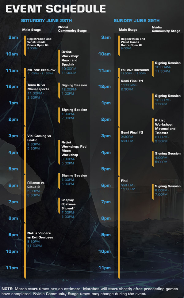 esl one 2014 schedule