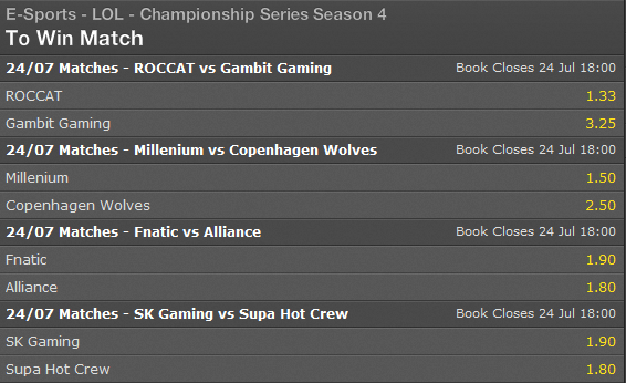 LCS EU Summer Split 2014 Week 10 Day 1 schedule and betting odds - Bet365