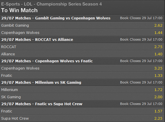 LCS EU Summer Split 2014 Week 11 Day1 schedule and betting odds - Bet365