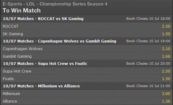 LCS EU Summer Split 2014 Week 8 Day 1 schedule and betting odds - Bet365