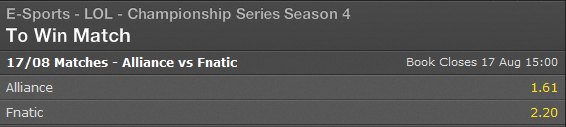 LCS EU Playoffs Finals Summer Split 2014 schedule and betting odds - Bet365