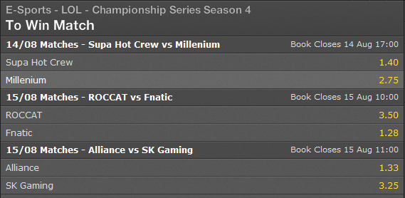 LCS EU Playoffs Semi-finals Summer Split 2014 schedule and betting odds - Bet365