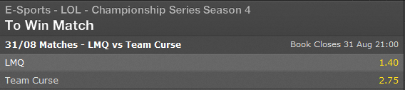 LCS NA Playoffs Match for 3rd place Summer Split 2014 schedule and betting odds - Bet365