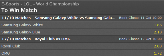 LoL World Championship 2014 - Schedule and Betting Odds Semi-finals - Bet365