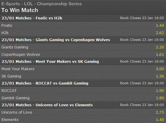 LCS EU Season 5 - Spring Split - Week 1 - Day 2 - Schedule and betting odds by Bet365