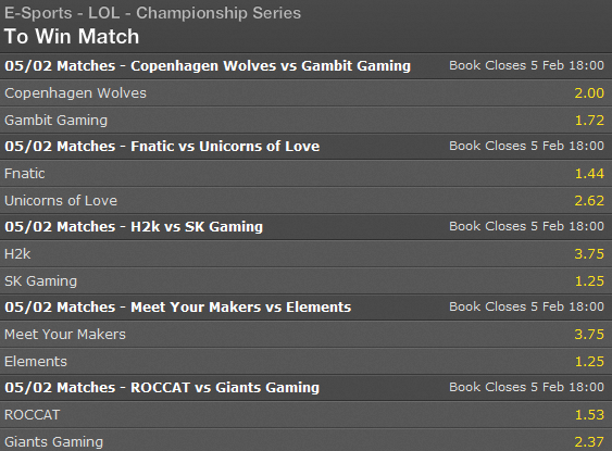 LCS EU Season 5 - Spring Split - Week 3 - Day 1 - Schedule and betting odds by Bet365
