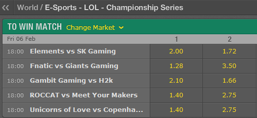 LCS EU Season 5 - Spring Split - Week 3 - Day 2 - Schedule and betting odds by Bet365