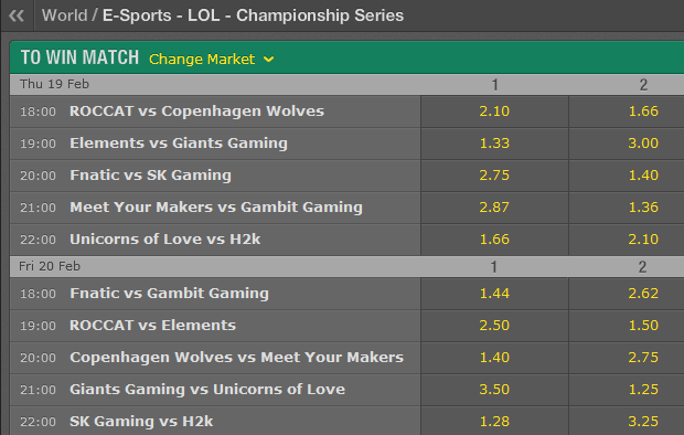LCS EU Season 5 - Spring Split - Week 5 - Schedule and betting odds by Bet365