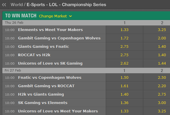 LCS EU Season 5 - Spring Split - Week 6 - Schedule and betting odds by Bet365