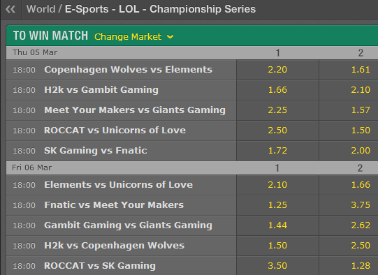 LCS EU Season 5 - Spring Split - Week 7 - Schedule and betting odds by Bet365
