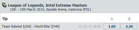 IEM World Championship 2015 Finals - League of Legends Schedule and Betting Odds - Bet at Home