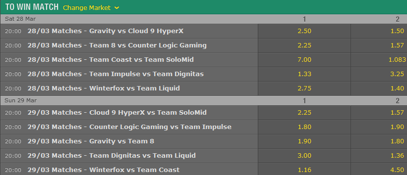 LCS NA Season 5 - Spring Split - Week 9 - Schedule and betting odds by Bet365
