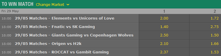 LCS EU Season 5 - Summer Split - Week 1 Day 2 - Schedule and betting odds by Bet365