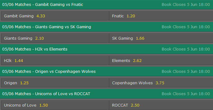 LCS EU Season 5 - Summer Split - Week 2 Day 2- Schedule and betting odds by Bet365