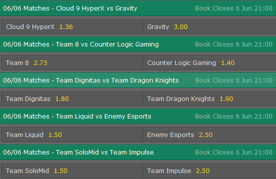 LCS NA Season 5 - Summer Split - Week 2 Day 1- Schedule and betting odds by Bet365