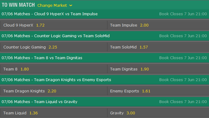 LCS NA Season 5 - Summer Split - Week 2 Day 2 - Schedule and betting odds by Bet365