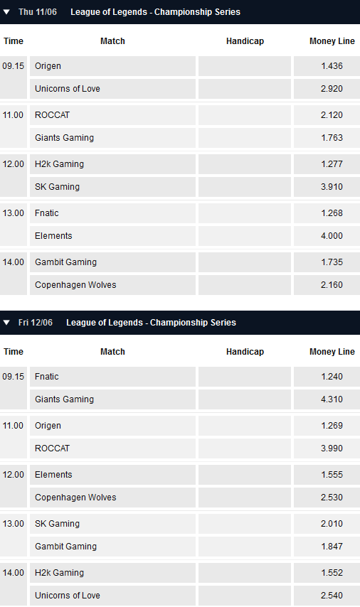 LCS EU Season 5 - Summer Split - Week 3 - Schedule and betting odds by Pinnacle