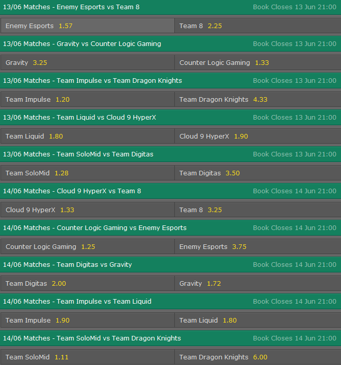 LCS NA Season 5 - Summer Split - Week 3 - Schedule and betting odds by Bet365