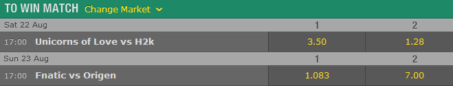 Finals and Match for 3rd place EU LCS Summer Playoffs - Schedule and betting odds by Bet365