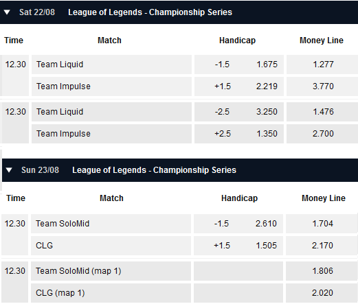 Finals and Match for 3rd place NA LCS Summer Playoffs - Schedule and betting odds by Pinnacle