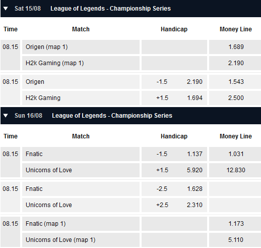 Semifinals EU LCS Summer Playoffs - Schedule and betting odds by Pinnacle