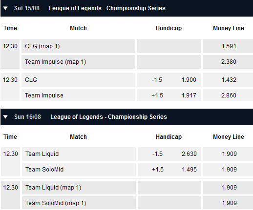 Semifinals NA LCS Summer Playoffs - Schedule and betting odds by Pinnacle
