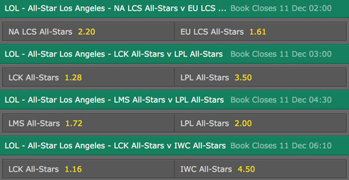 Bets and odds LoL AllStar 2015 bet365
