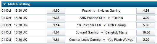 LoL Worlds 2015 - Schedule and betting odds - Group stage 1 - Day 1 - William Hill