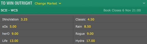 bets odds starcraft 2 wc series winner bet365