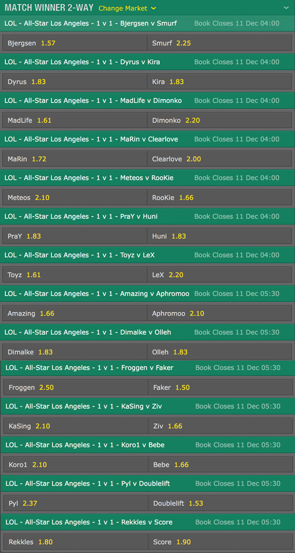 1v1 Bets and odds LoL All Star 2015 bet365
