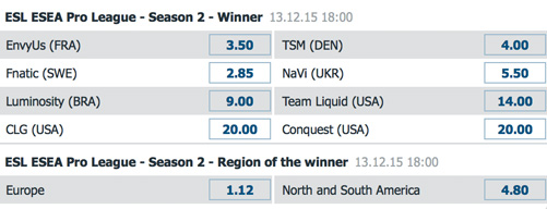 Schedule and Betting Odds ESL ESEA Pro Finals 2015 Bet-at-home