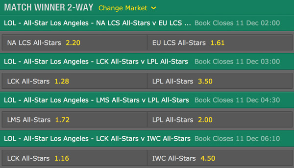 betting odds match schedule AllStar 2015 5v5