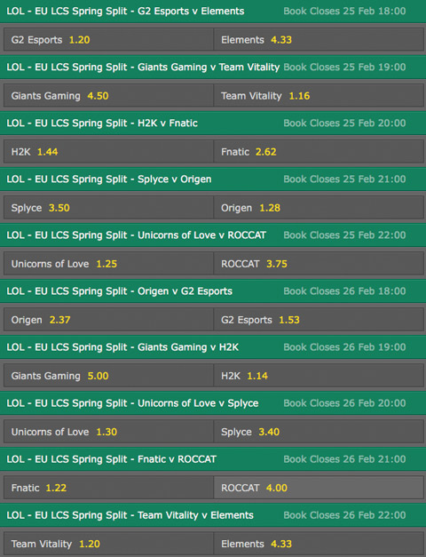 LCS EU Season 6 Spring Split Week 7 Schedule and betting odds by bet365