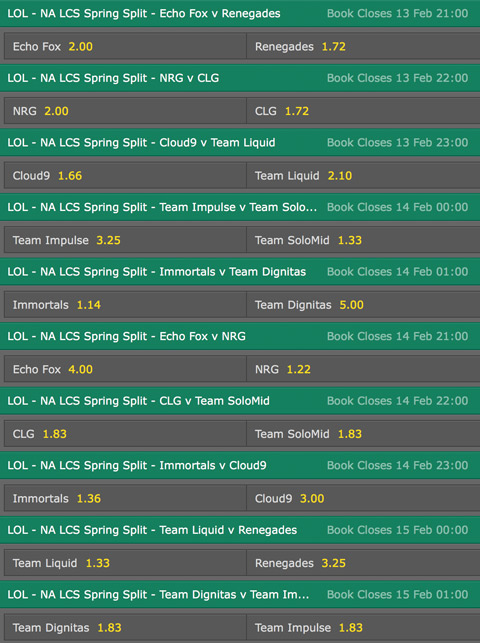 LCS NA Season 6 Spring Split Week 5 Schedule and betting odds by Bet365