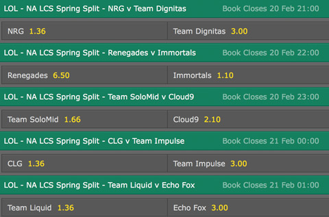 LCS NA Season 6 Spring Split Week 6 Schedule and betting odds by bet365