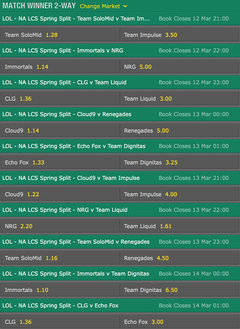 LCS NA Season 6 Spring Split Week 8 Schedule and betting odds by bet365