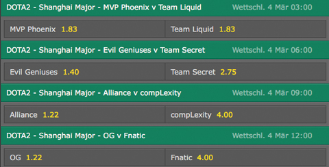 Betting Odds Day3 Shanghai Major 2016 bet365
