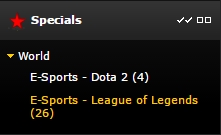 How to find esports betting at Bwin Specials