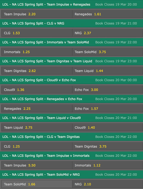 LCS NA Season 6 Spring Split Week 9 Schedule and betting odds by Bet365