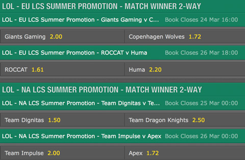 LCS Summer Promotion 2016 Schedule and betting odds by Bet365