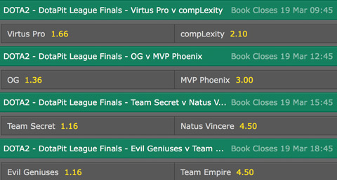 match winner betting odds DotaPit Season4 finals bet365