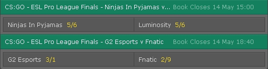 Semifinals ESL Pro League Season 3 Finals Betting Odds on Bet365