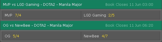 Bettings Odds Manila Major 2016 Main Event Day 5 on Bet365