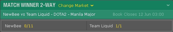 Bettings Odds Manila Major 2016 Main Event Finals on Bet365